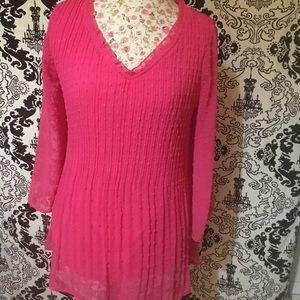 Bright Pink Swiss Dot Tunic NWOT